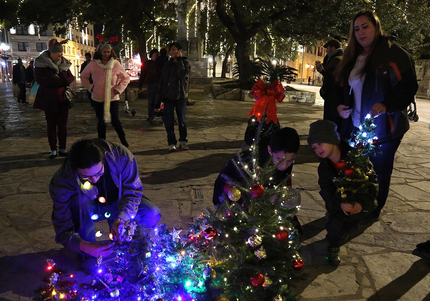 Arturo Gomez, 3, adds his own mini Christmas tree to the collection that formed Sunday night in front of the Alamo. The trees were in protest of downtown's main 50-foot Christmas tree relocation to Travis Park last year. Gomez' Mom, Leanna, looks on as the gathering's organizer, Steve Monreal, left, tends to the bunch. <em><b>Photo by Ben Olivo | Heron</b></em>
