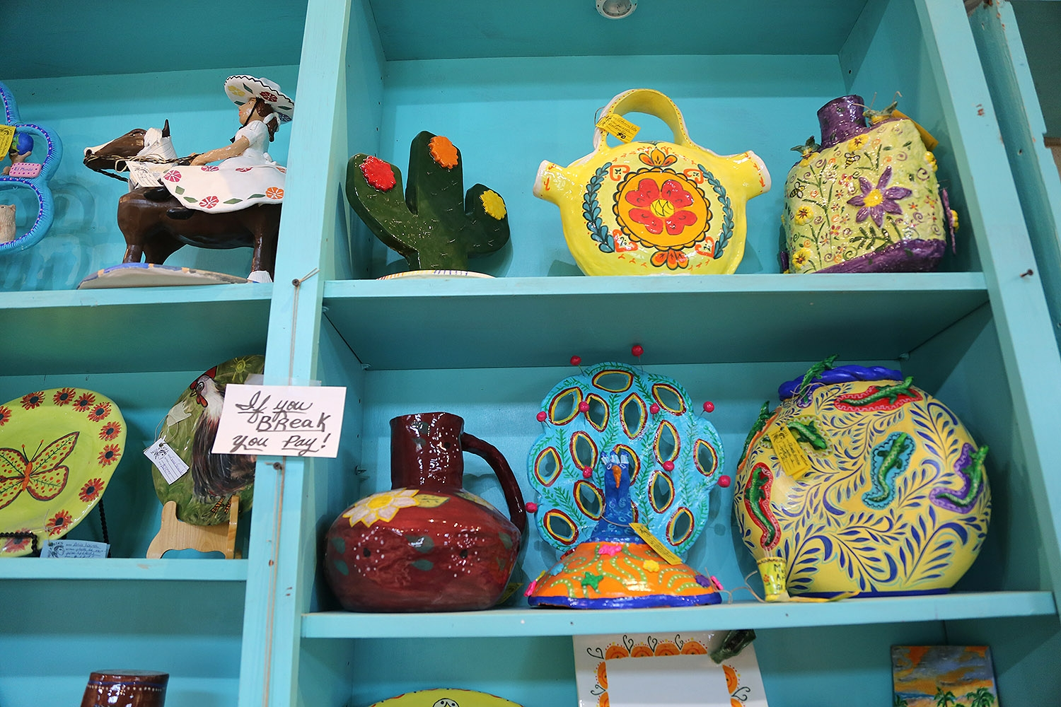 Works by members of the MujerArtes women's clay cooperative.