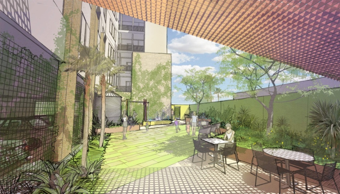 The Museum Reach Lofts' courtyard garden. <em><b>Rendering Courtesy of Alamo Architects/ Alamo Community Group</b></em>