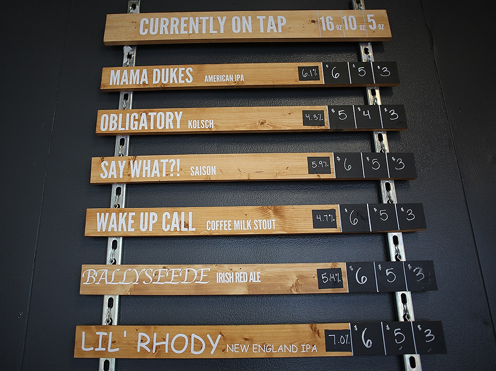 The beer list at Roadmap Brewing Co. <em><b>Photo by Ben Olivo | Heron</b></em>