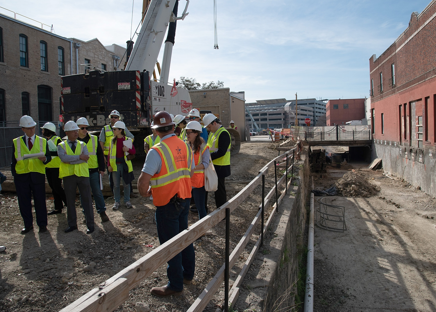 Bexar County Judge Nelson Wolff attends a tour over the second segment of the San Pedro Creek Culture Park Feb. 15.