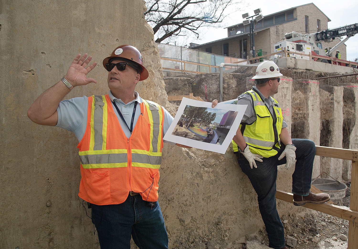 Kerry Averyt, senior engineer and project manager for the San Antonio River Authority, speaks at the end of a tour over the second segment of the San Pedro Creek Culture Park Feb. 15.