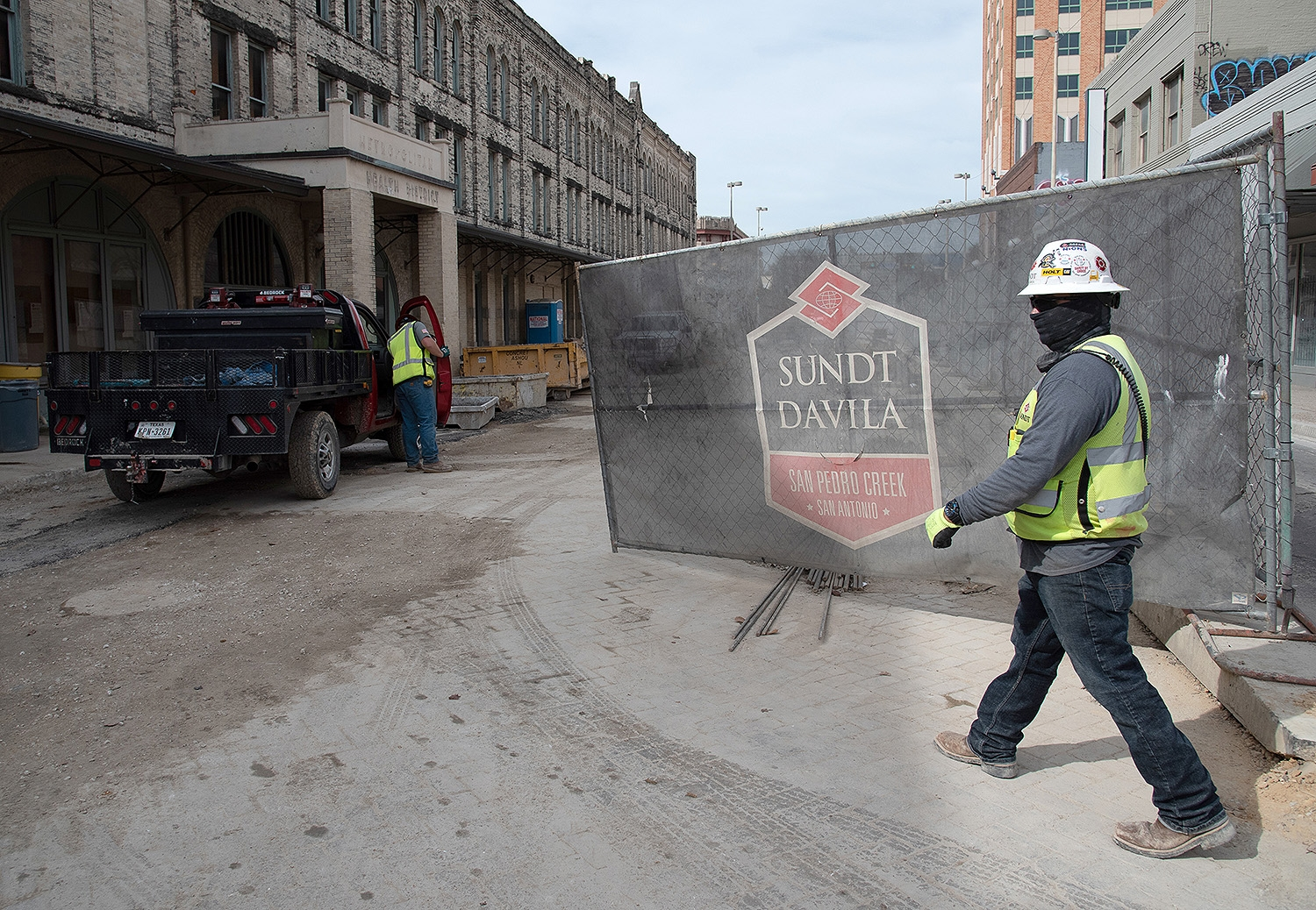 Construction of West Commerce Street related to the San Pedro Creek Culture Park project taken during a tour on Feb. 15, 2019.
