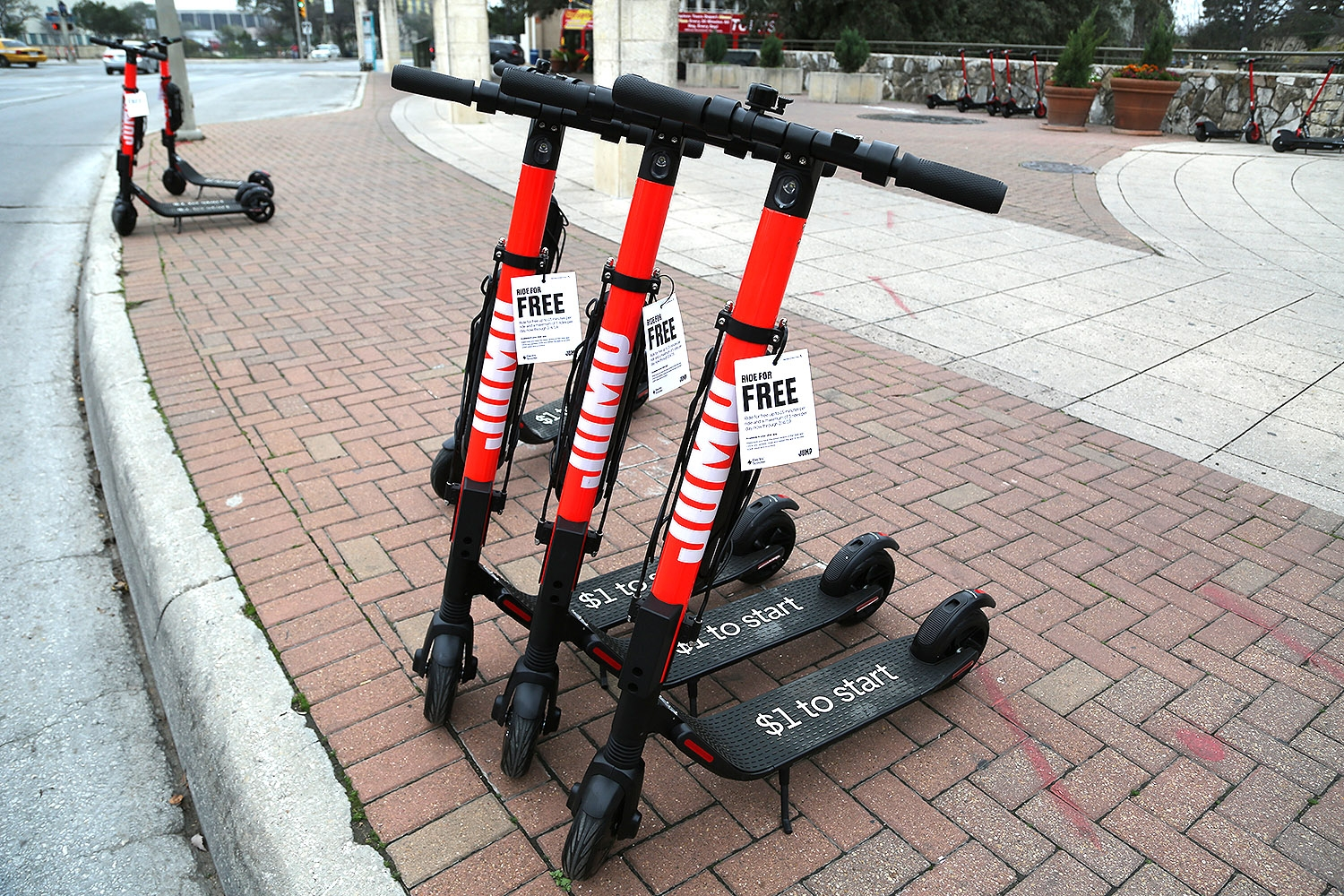 Jump launched today in San Antonio. The Uber dockless vehicle brand has permits for 2,000 e-scooters and 2,000 e-bikes. Photo by Ben Olivo   Heron