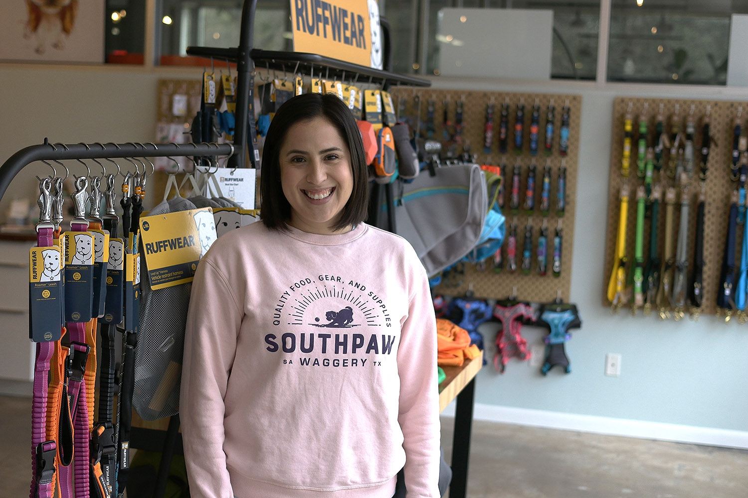 Maricela Guerra is owner of SouthPaw Waggery, 317 Lexington Ave., Suite 4. <b><em>Photo by Noah Alcala Bach | Heron contributor</em></b>