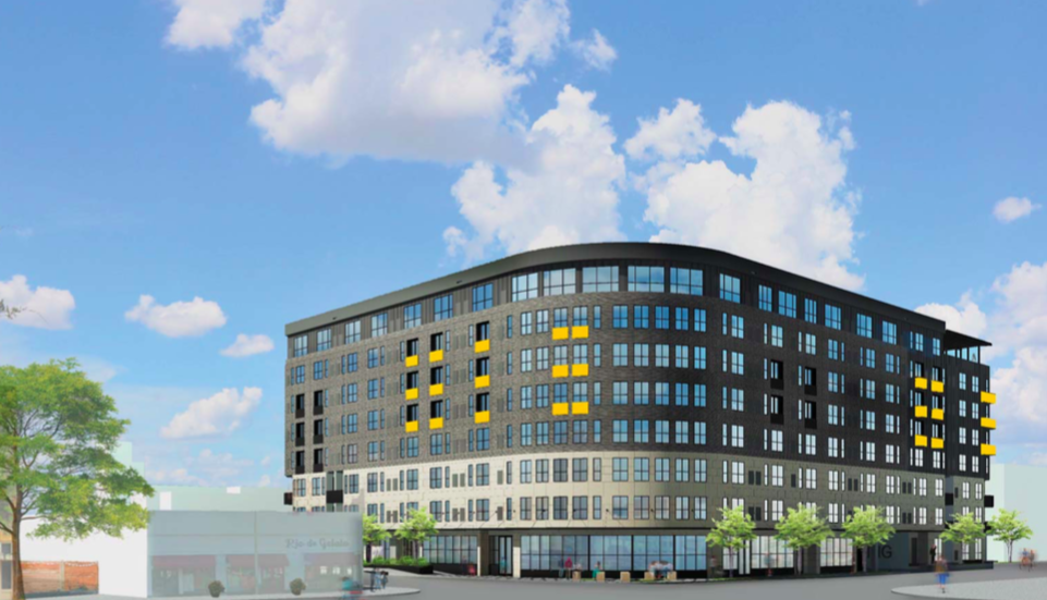 St. John's Square is an eight-story, 250-unit development being proposed for the southeast corner of East Nueva and South St. Mary's streets by Austin developer Dennis McDaniel and the San Antonio Housing Authority. Courtesy Mark Odom Studio