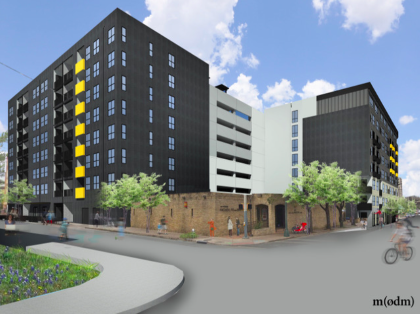 Renderings for the eight-story St. John's Square development as submitted to the Historic and Design Review Commission for consideration on Feb. 5, 2020. <b><em>Courtesy Mark Odom Studio</em></b>