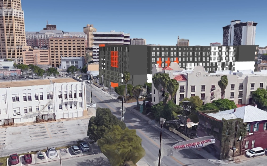 The eight-story St. John's Square development is being proposed for the southeast corner of South St. Mary's and East Nueva streets. <b><em>Rendering courtesy Mark Odom Studio</em></b>