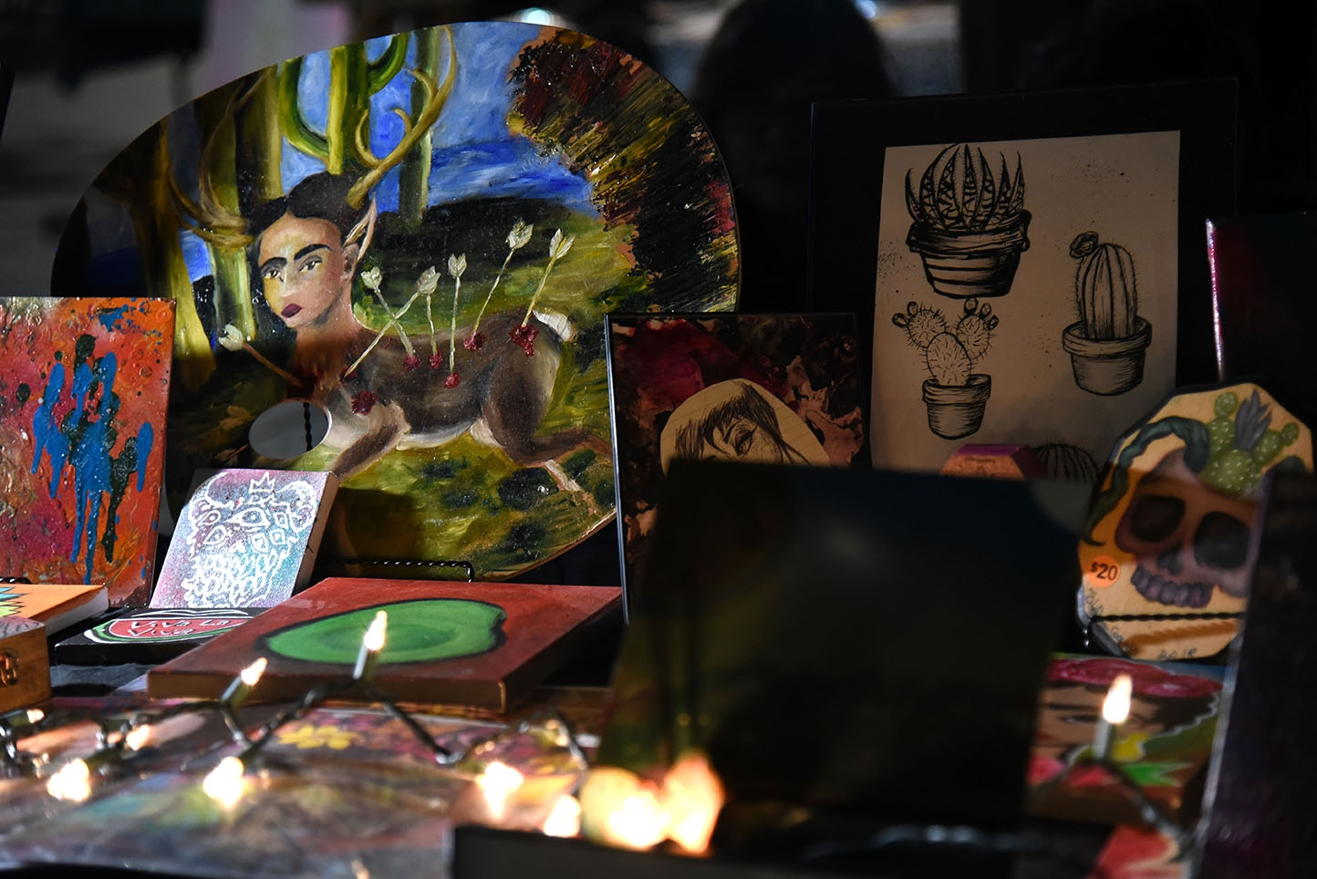 Art at the 10th annual Una Noche en La Gloria Oct. 20 on Guadalupe St. <em><b>Photo by V. Finster | Heron</b></em>