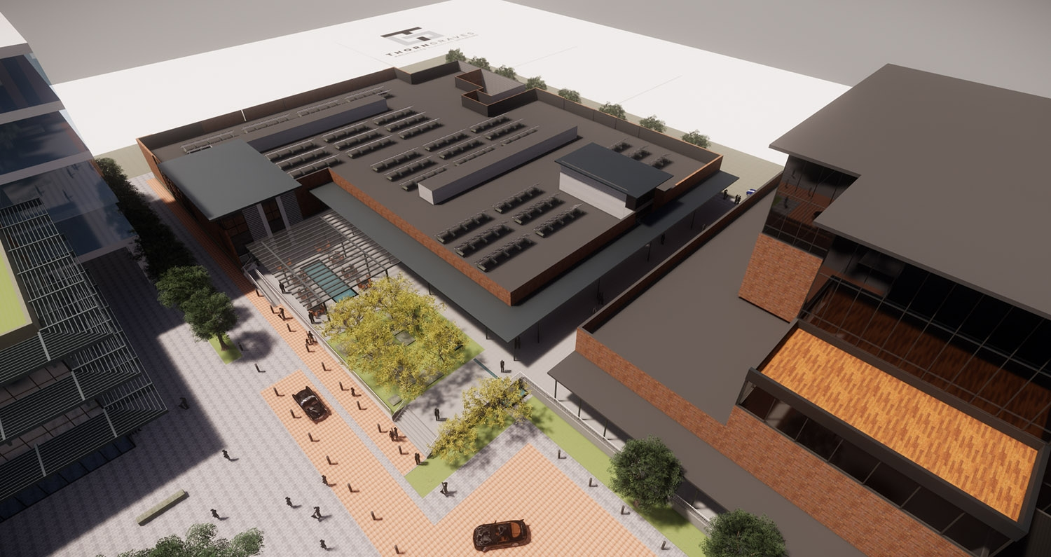This rendering released Feb. 19, 2019, shows VelocityTX's plans for its bio and life sciences start-up business incubator at East Houston and Cherry streets. <b><em>Courtesy VelocityTX</em></b>