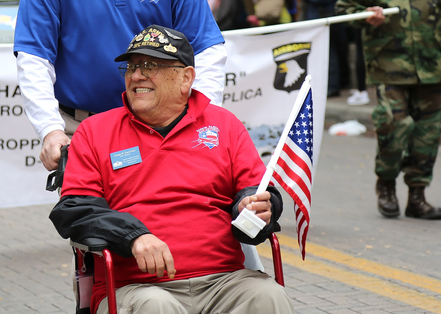 Jorge R. Sanchez, retired Sgt. 1st Class, 101st Airborne Division, participates in the annual Veterans Day Parade Saturday on Houston Street. <em><b>Photo by Ben Olivo | Heron</b></em>