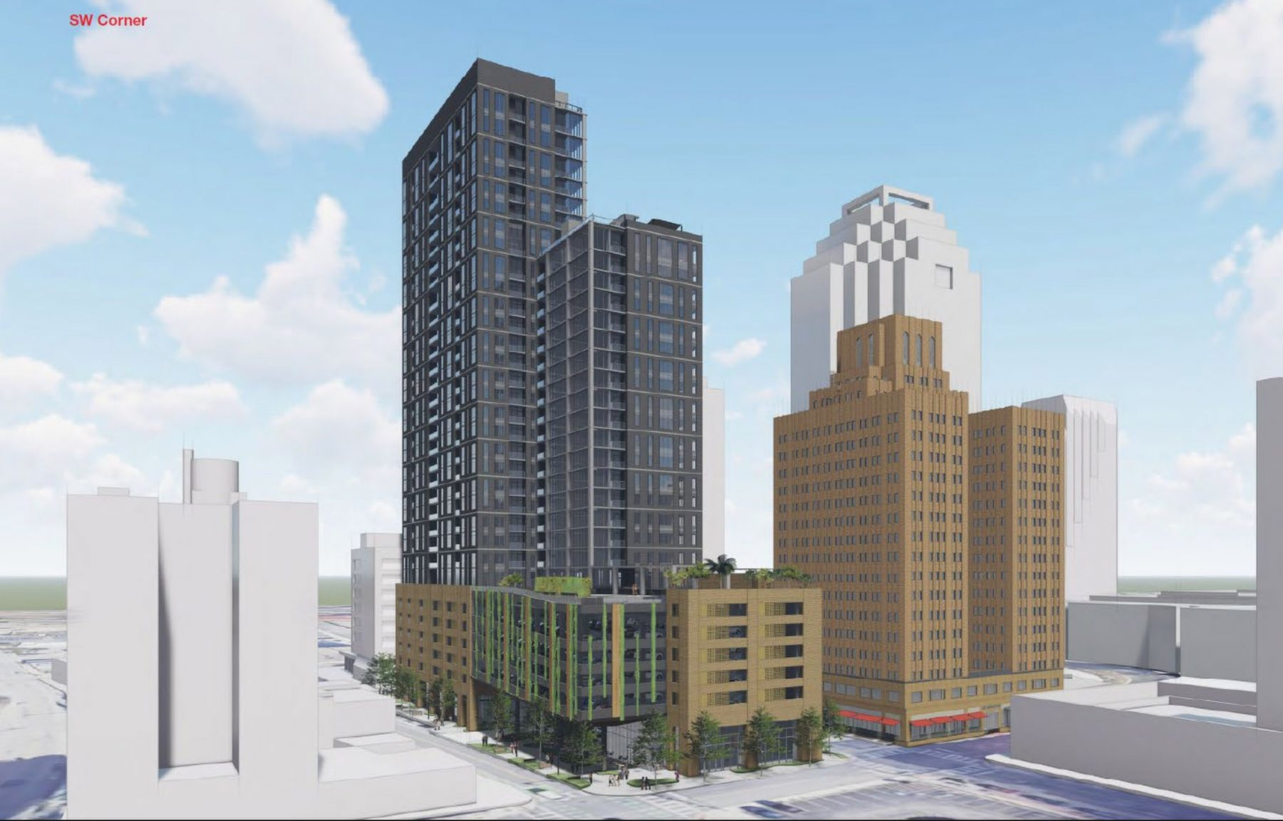 Rendering shows Weston Urban's proposed 32-story tower at 305 Soledad St. from the southwest corner looking north. <em>Courtesy Weston Urban</em>