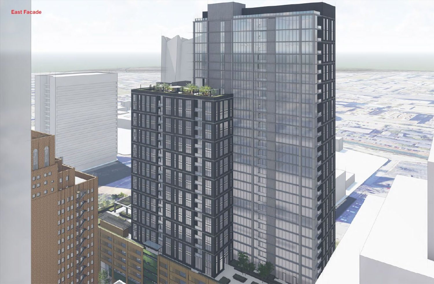 Rendering shows the east facade of Weston Urban's proposed 32-story tower at 305 Soledad St. <em>Courtesy Weston Urban</em>