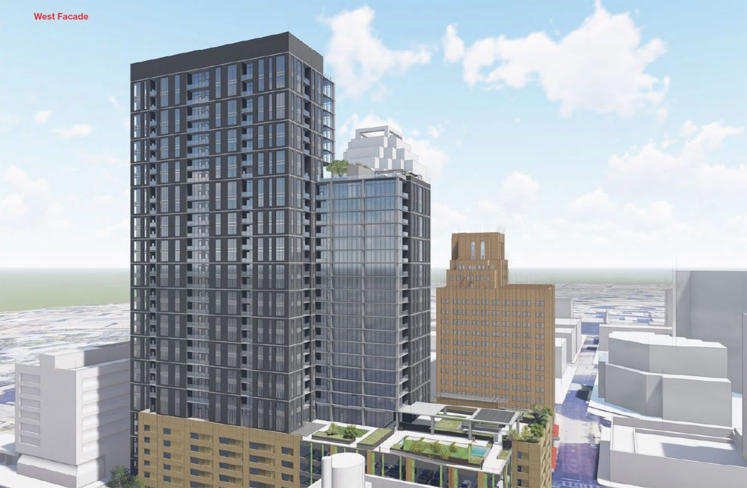 Rendering shows the west facade of Weston Urban's proposed 32-story tower at 305 Soledad St. <em>Courtesy Weston Urban</em>