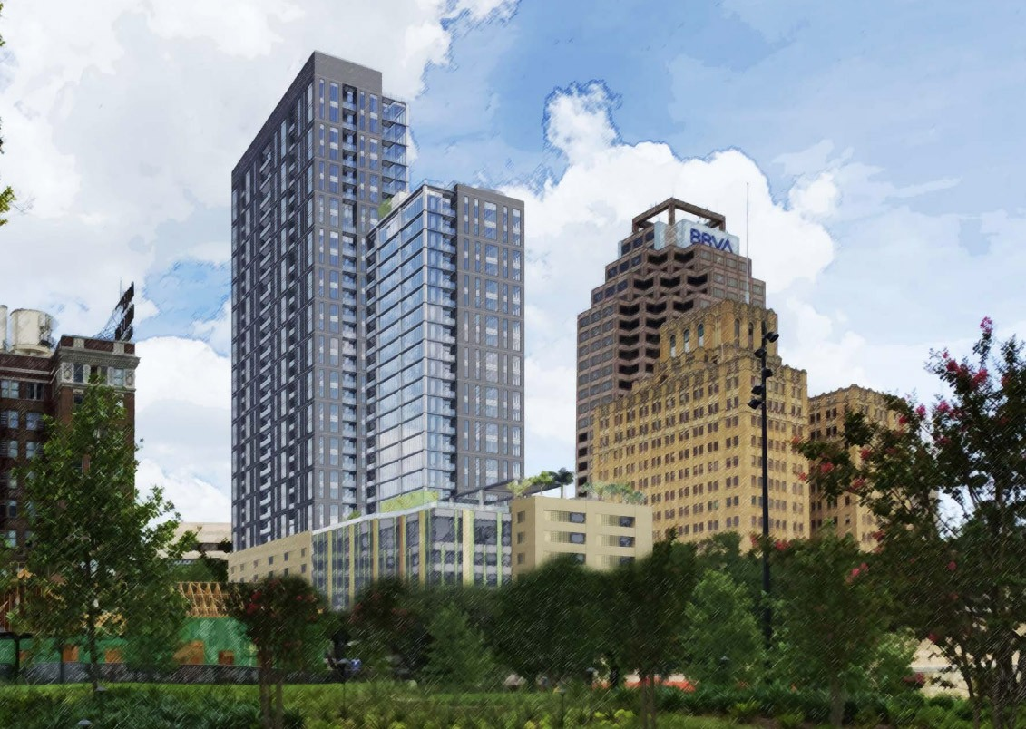 Rendering shows Weston Urban's proposed 32-story tower at 305 Soledad St. <em>Courtesy Weston Urban</em>