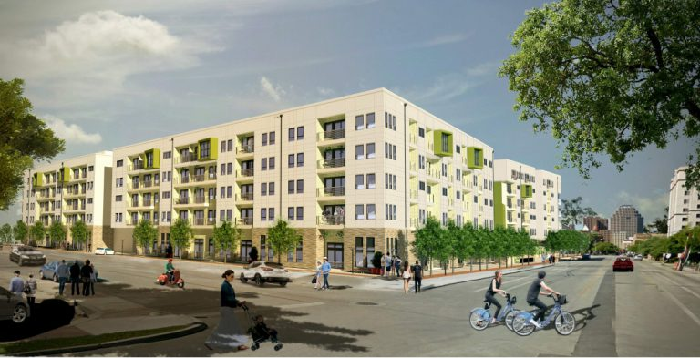 Renderings show Heritage Plaza, a 343-unit development at South Main Avenue and Stumberg Street by Cypress Real Estate Advisors of Austin.