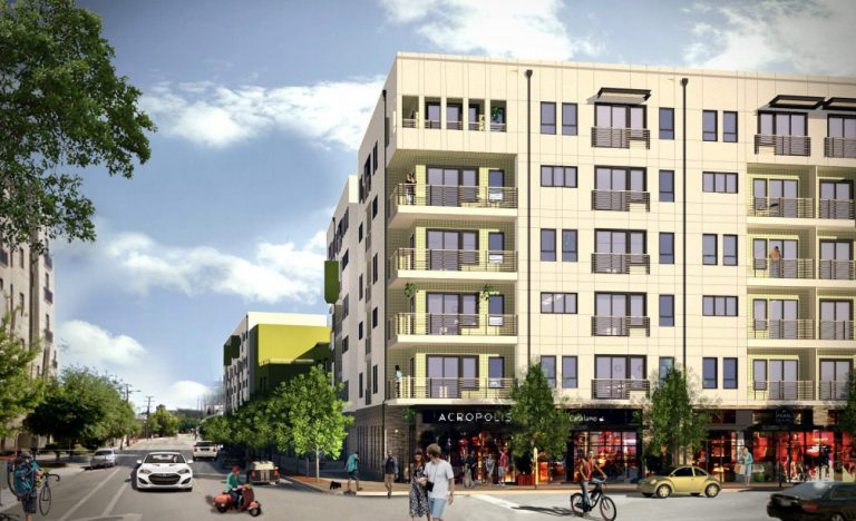 Renderings show Heritage Plaza, a 343-unit development at the corner of South Main Avenue and Stumberg Street by Cypress Real Estate Advisors of Austin.
