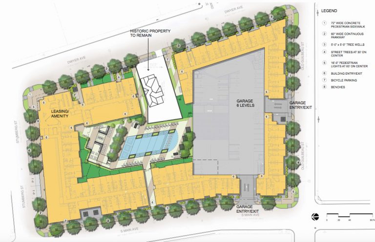 Site map for Heritage Plaza, 410 S. Main Ave.