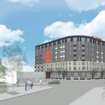 The eight-story, 250-unit St. John's Square development is being proposed for the southeast corner of St. Mary's and Nueva streets. Courtesy Courtesy Mark Odom Studio