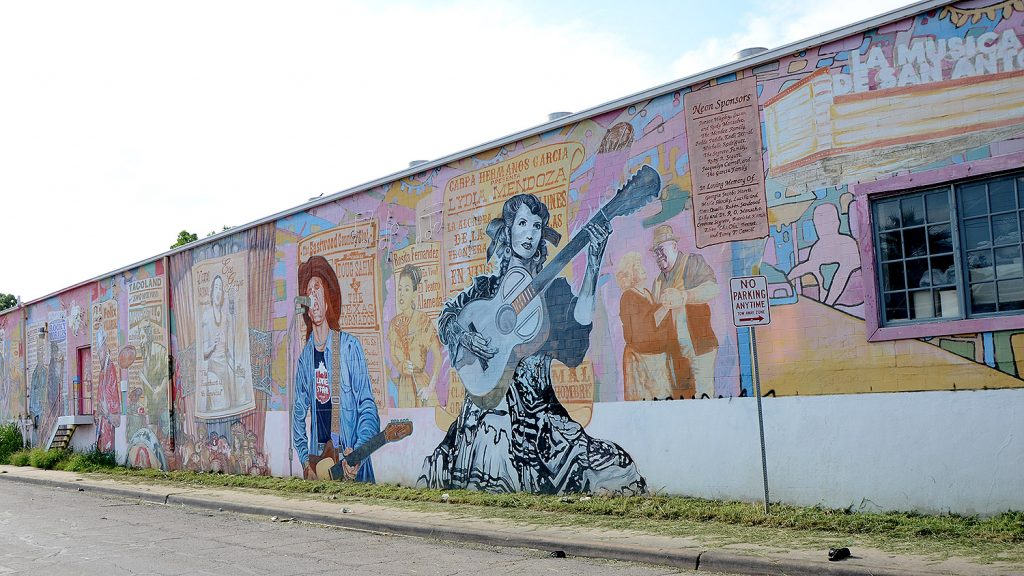 This mural of San Antonio music legends welcomes motorists along West Commerce Street.