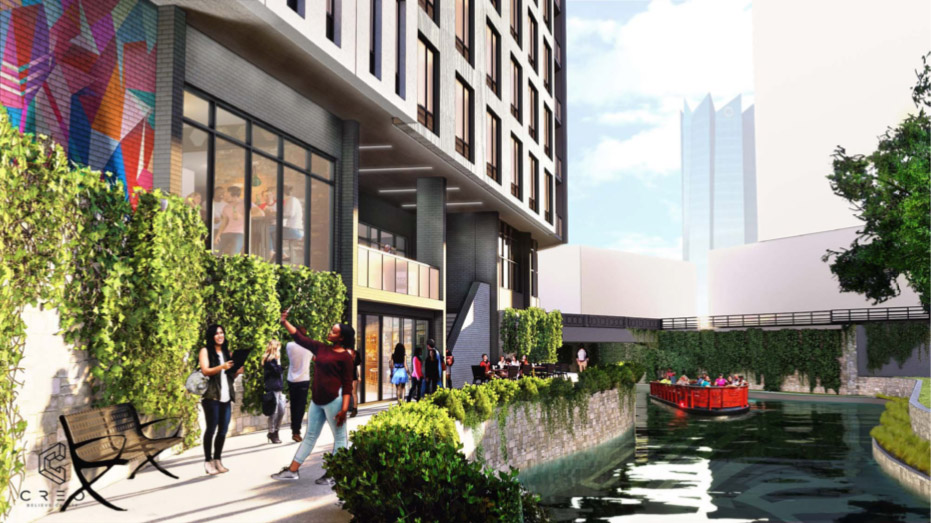 Renderings show the Arista Hotel at 151 E. Travis St. from the river level. Renderings scheduled to be presented to the Historic and Design Review Commission on June 5, 2019.