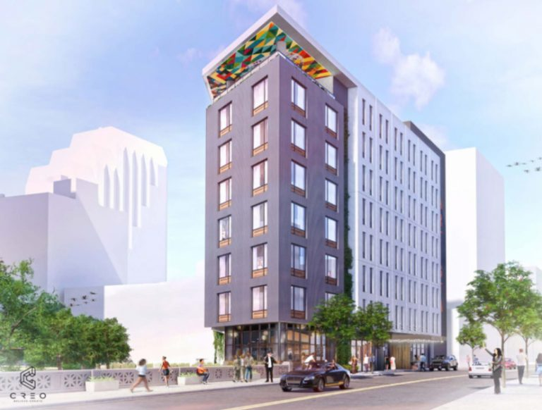 Renderings show the Arista Hotel at 151 E. Travis St. from the street level. Renderings scheduled to be presented to the Historic and Design Review Commission on June 5, 2019.