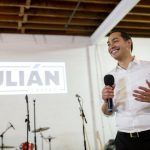 Democratic presidential candidate Julián Castro speaks to supporters at a fundraiser at Native Hostel in Austin on May 8, 2019.
