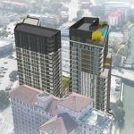 Two towers one by SAHA and JMJ, and the other by just JMJ. Renderings going to SAHA board meeting Aug. 1, 2019. SAN ANTONIO HOUSING AUTHORITY