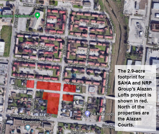 This map shows the 2.9-acre footprint for the Alazan Lofts, a partnership between the San Antonio Housing Authority and developer NRP Group, on the near West Side. Just above it are the Alazan Courts.