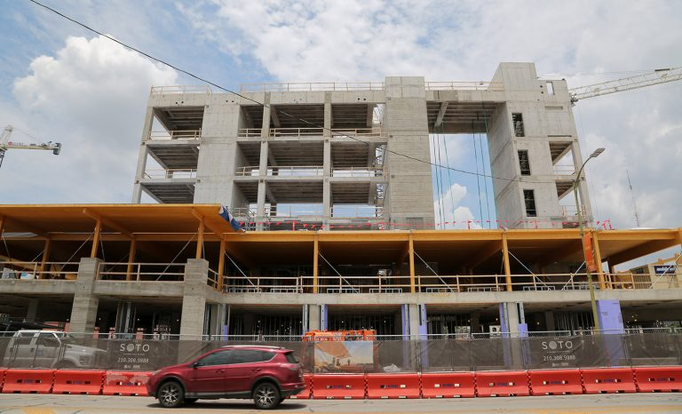 The Soto, a six-story, timber-framed office building, is currently under construction at 711 Broadway. Photo taken July 12, 2019. Photo by Ben Olivo | Heron