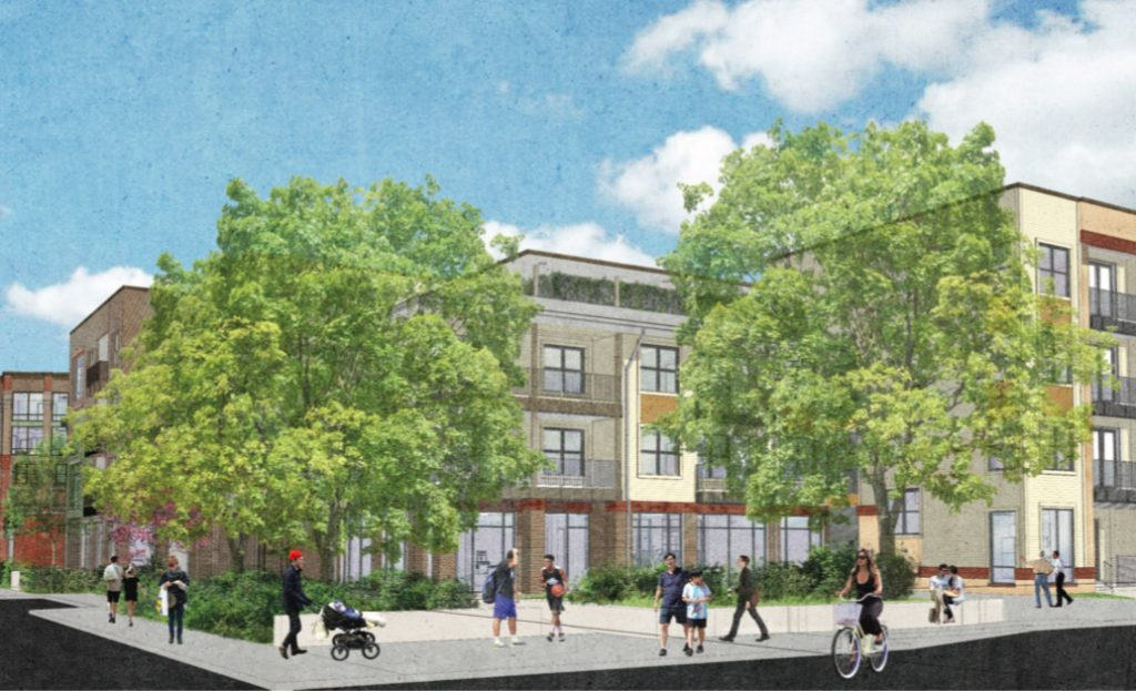 This rendering shows a 220-unit mixed-income development by the San Antonio Housing Authority from the perspective of Labor Street looking north.