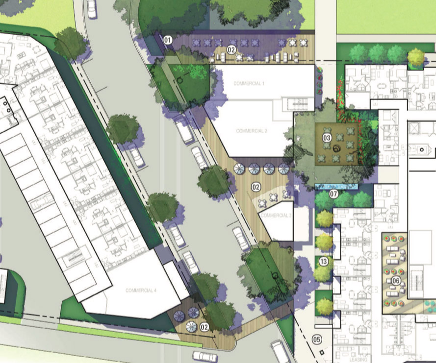 Map shows four retail spaces in the 220-unit mixed-income mixed-use San Antonio Housing Authority development on Labor Street near East Cesar E. Chavez Boulevard.
