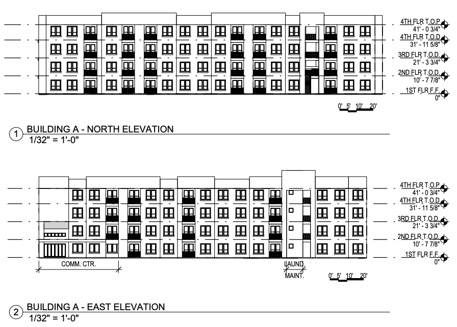Elevation drawings of the Alazan Lofts submitted as part of the 9 percent low income housing tax credit application.