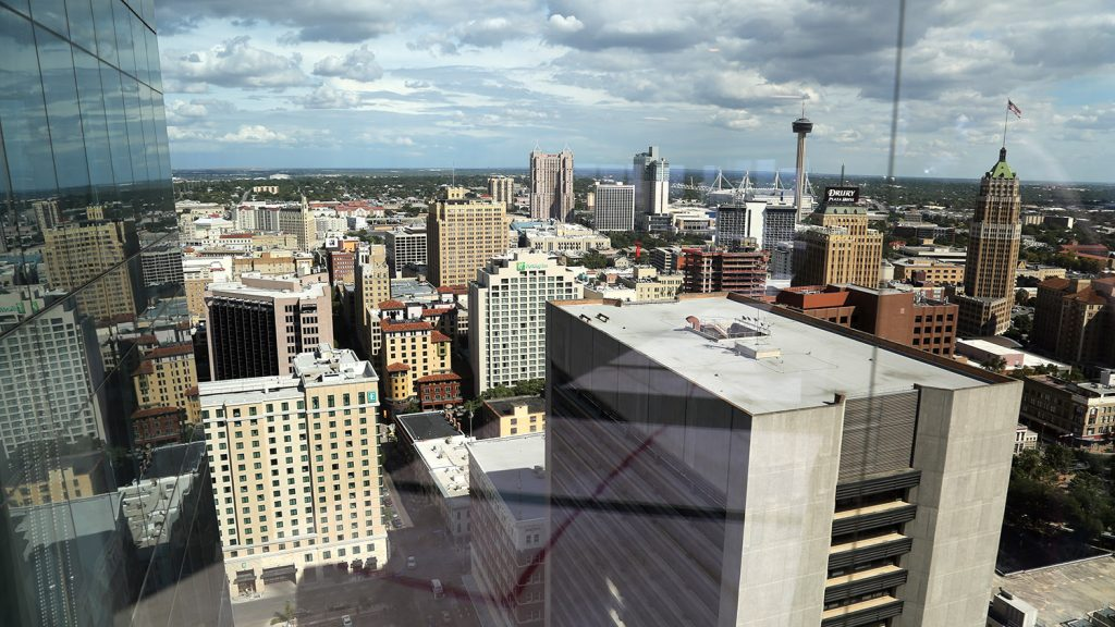 The view from the 24th floor of the Frost Tower, which opened to the public July 1. Frost Bank and Weston Urban, which co-developed the tower along with KDC of Dallas, hosted a media tour on Tuesday, Sept. 17, 2019. Photo by Ben Olivo | Heron