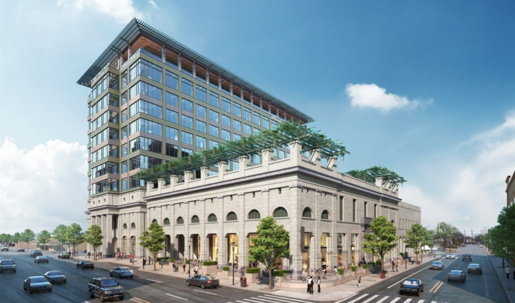 Rendering of 13-story Jefferson Bank headquarters building to be located at 1900 Broadway. Rendering reviewed by HDRC Dec. 18, 2019. Courtesy Don B. McDonald, Architect