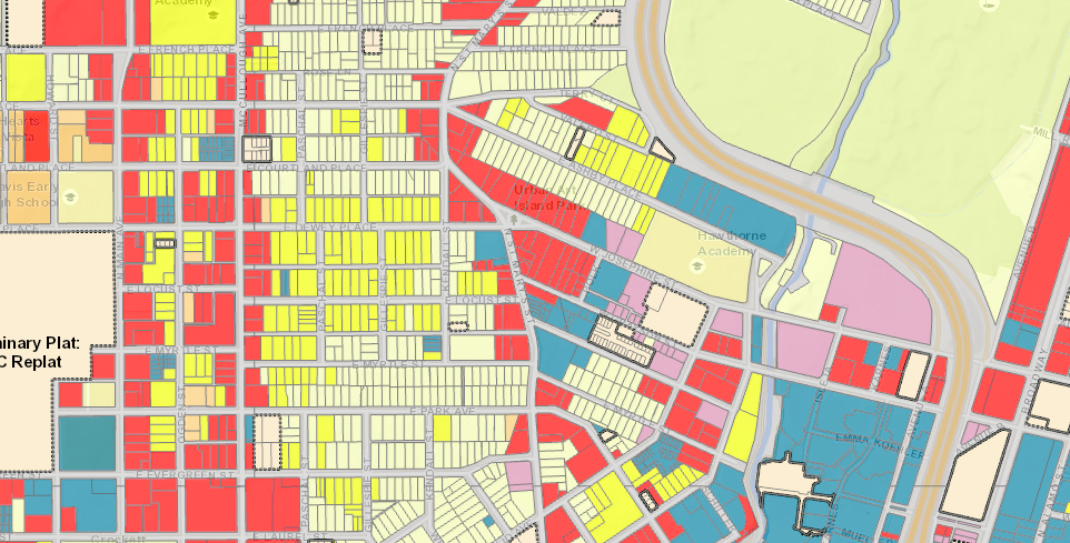 Here is Tobin Hill, with multi-family-zoned properties in yellow. City of San Antonio