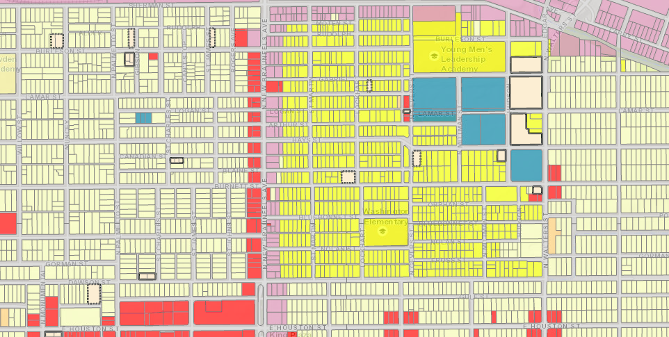Here is the near East Side with North New Braunfels Avenue separating Dignowity Hill and Harvard Place / East Lawn. Multi-family-zoned properties are in yellow. City of San Antonio.