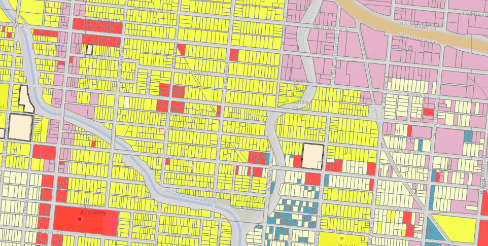 Here is a section of the West Side, between Culebra Road and Martin Street. Multi-family-zoned properties are in yellow. City of San Antonio