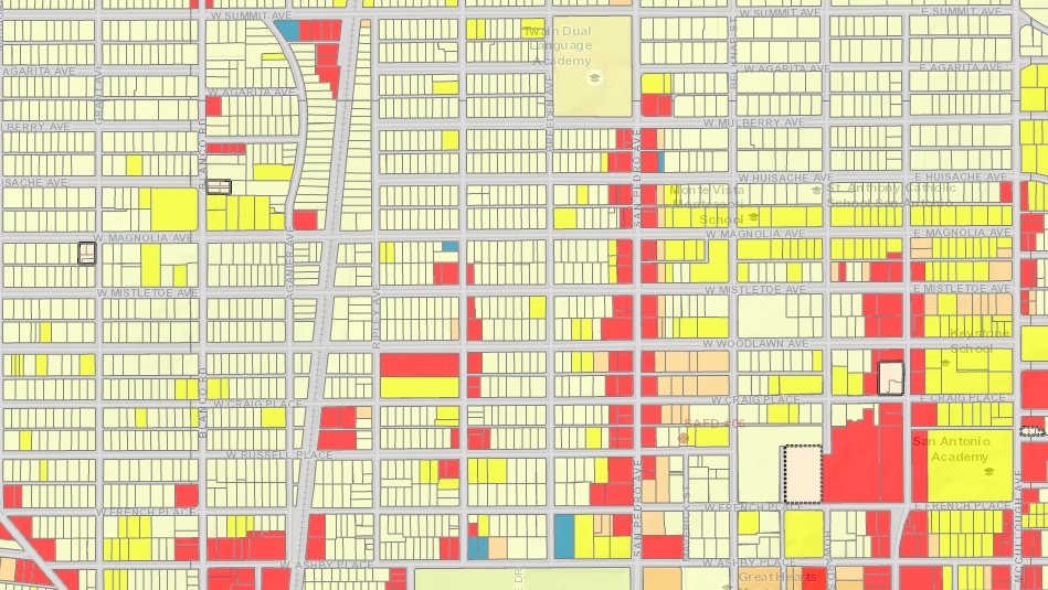 This zoning map north of downtown shows multi-family-zoned properties in yellow mixed in with residential properties in parts of Beacon Hill, Alta Vista and Monte Vista. <em>City of San Antonio</em>