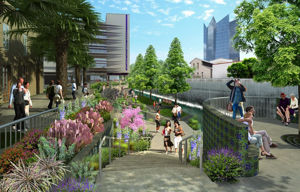 A rendering of segment 1.2 of the San Pedro Creek Culture Park is shown from the perspective of West Commerce Street.