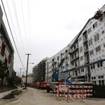 The 343-unit Heritage Plaza apartment building is under construction at South Main Avenue and Old Guilbeau Street, a block south of the Bexar County Courthouse in January. Photo by Ben Olivo | Heron