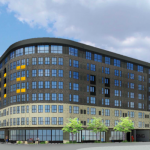 Renderings for the eight-story St. John's Square development as submitted to the Historic and Design Review Commission for consideration on Feb. 5, 2020. Courtesy Mark Odom Studio