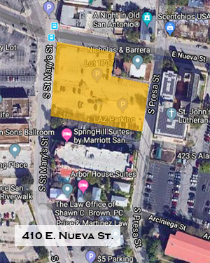 Locator map for St. John's Square, 410 E. Nueva St.