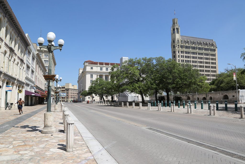 Alamo Plaza is nearly empty on Tuesday amid coronavirus concerns. Photo by Ben Olivo | Heron