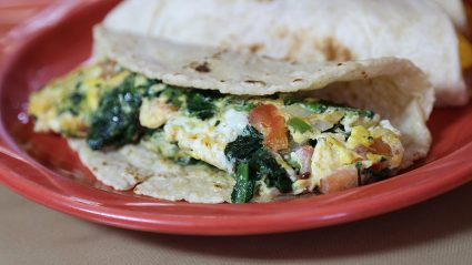 The spinach with egg a la Mexicana at Mama's Kitchen, 504 Hildebrand Ave. <em>Photo taken in 2018 by Ben Olivo</em>