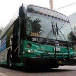 A VIA bus passes The Culinary Institute of America, San Antonio at the Pearl. Courtesy VIA Metropolitan Transit