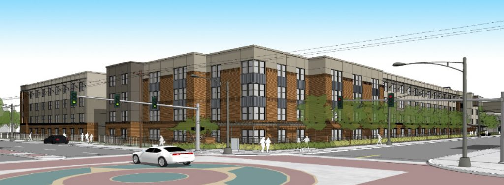 Rendering shows proposed Cattleman Square Lofts at 811 W. Houston St. by Alamo Community Group.