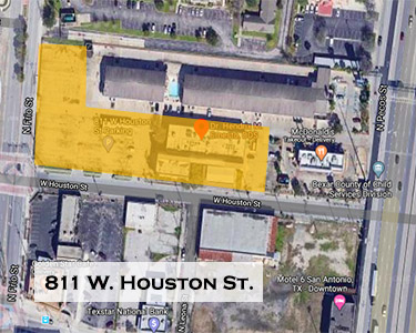 Cattlemans Square Lofts locator map, 811 W. Houston St.