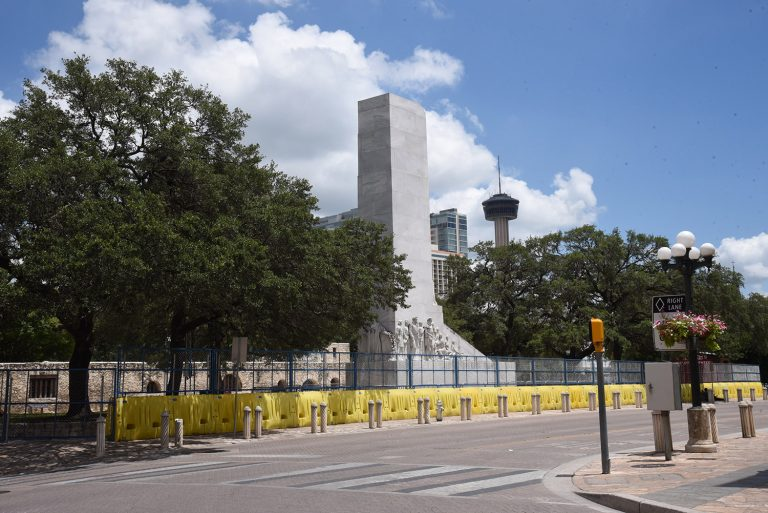 Alamo Plaza is fenced up on the afternoon of Thursday, June 4, 2020.