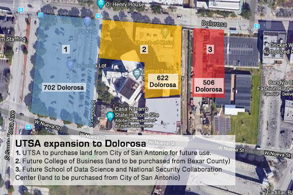 Map shows UTSA's expansion to Dolorosa.